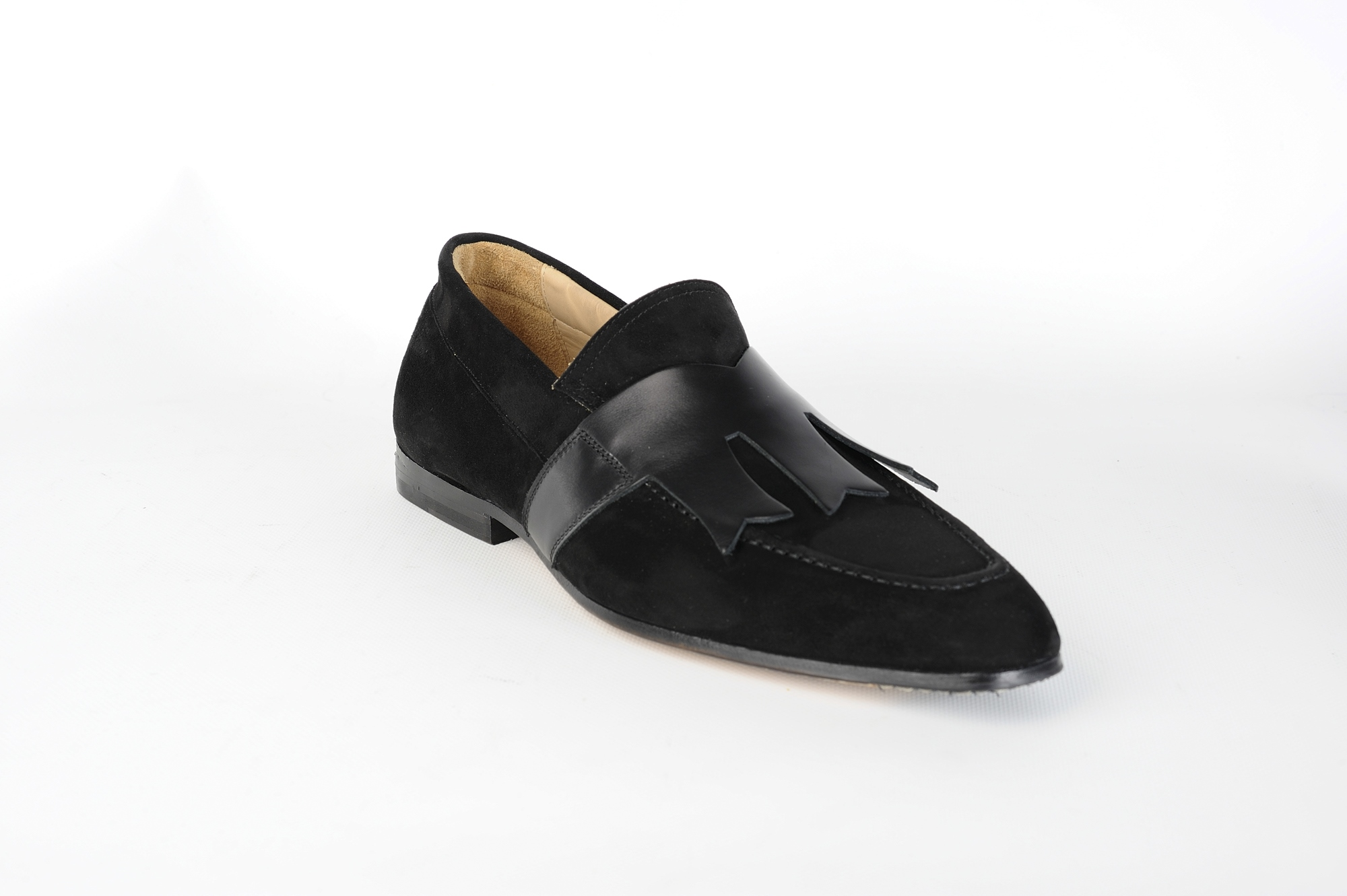 tobia longarini footwear crafted black leather artur suede